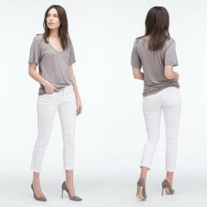 AG The Stilt Cigarette Roll-Up White Crop Jeans 28